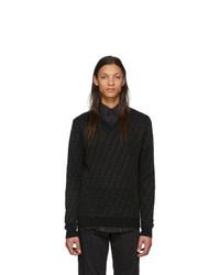 schwarzer bedruckter Pullover mit einem V-Ausschnitt von Fendi