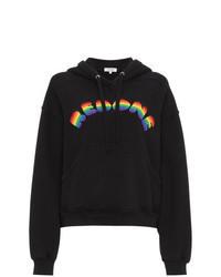 schwarzer bedruckter Pullover mit einer Kapuze