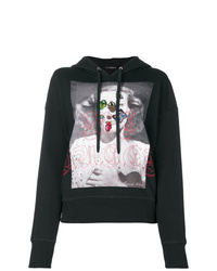 schwarzer bedruckter Pullover mit einer Kapuze von Alexander McQueen