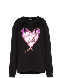 schwarzer bedruckter Pullover mit einer Kapuze von Dolce & Gabbana