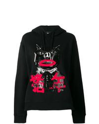 schwarzer bedruckter Pullover mit einer Kapuze von Dsquared2