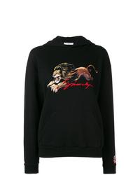schwarzer bedruckter Pullover mit einer Kapuze von Givenchy