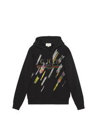 schwarzer bedruckter Pullover mit einer Kapuze von Gucci