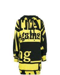 schwarzer bedruckter Pullover mit einer Kapuze von Maison Margiela