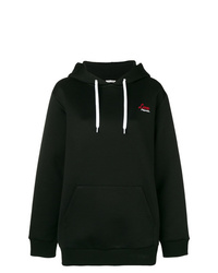 schwarzer bedruckter Pullover mit einer Kapuze von Miu Miu