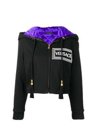 schwarzer bedruckter Pullover mit einer Kapuze von Versace