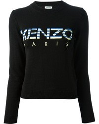 Schwarzer bedruckter Pullover mit Rundhalsausschnitt von Kenzo