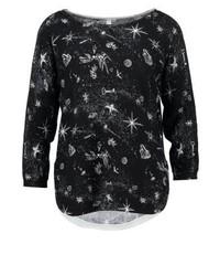 schwarzer bedruckter Pullover mit einem Rundhalsausschnitt von s.Oliver
