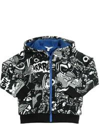schwarzer bedruckter Pullover
