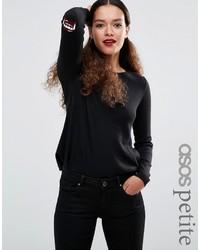 schwarzer bedruckter Pullover von Asos