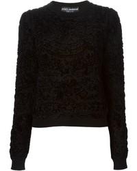 schwarzer bedruckter Samt Pullover mit einem Rundhalsausschnitt von Dolce & Gabbana