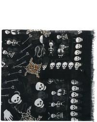 schwarzer bedruckter Seideschal von Alexander McQueen