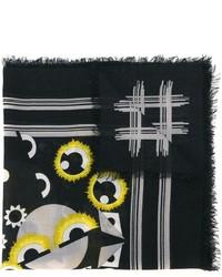 schwarzer bedruckter Seideschal von Fendi