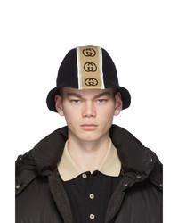 schwarzer bedruckter Wollfischerhut von Gucci