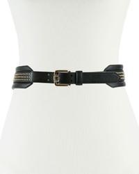 schwarzer beschlagener Leder Taillengürtel