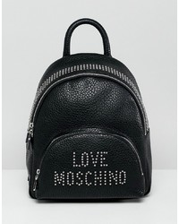 schwarzer beschlagener Rucksack von Love Moschino