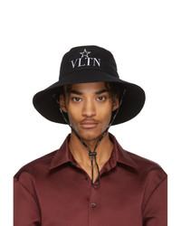 schwarzer bestickter Fischerhut von Valentino