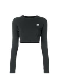 schwarzer bestickter kurzer Pullover