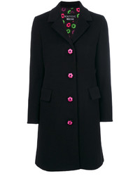 schwarzer bestickter Mantel von Moschino