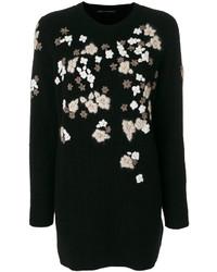 schwarzer bestickter Oversize Pullover von Ermanno Scervino