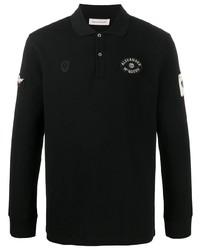 schwarzer bestickter Polo Pullover von Alexander McQueen