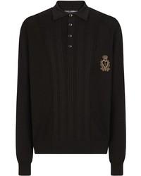 schwarzer bestickter Polo Pullover von Dolce & Gabbana