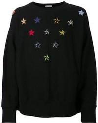 schwarzer bestickter Pullover mit einem Rundhalsausschnitt