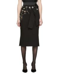 schwarzer bestickter Wollrock von Dolce & Gabbana