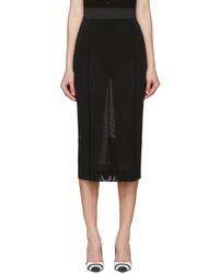 schwarzer Bleistiftrock aus Netzstoff von Dolce & Gabbana