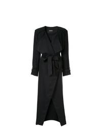schwarzer Leinen Mantel mit Chevron-Muster von Goen.J