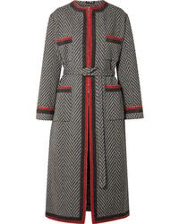 schwarzer Mantel mit Chevron-Muster von Gucci