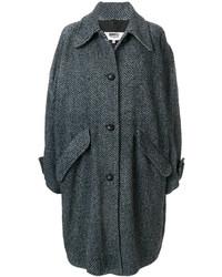 schwarzer Mantel mit Chevron-Muster von MM6 MAISON MARGIELA