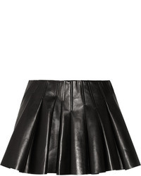 schwarzer Falten Leder Minirock
