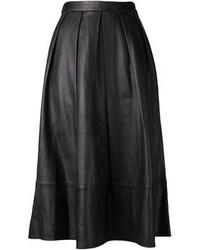 schwarzer Falten Midirock aus Leder