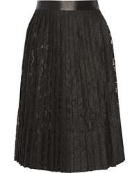 schwarzer Midirock aus Spitze mit Falten von Givenchy