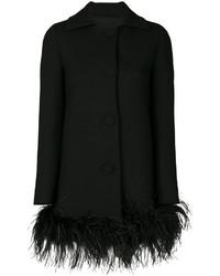 schwarzer Federnmantel von Moschino