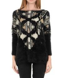 Schwarzer flauschiger Pullover mit Rundhalsausschnitt von Molly Bracken