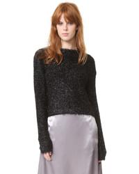 Schwarzer flauschiger Pullover mit Rundhalsausschnitt von Tibi