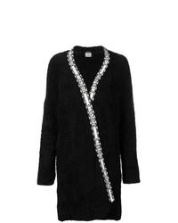 schwarzer Fleece-Mantel
