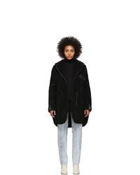 schwarzer Fleece-Mantel von MM6 MAISON MARGIELA