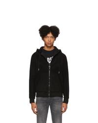 schwarzer Fleece-Pullover mit einem Kapuze von Diesel
