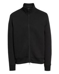 schwarzer Fleece-Pullover mit einem Reißverschluß