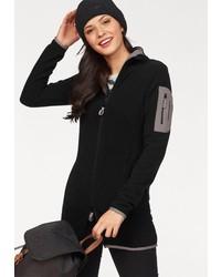 schwarzer Fleece-Pullover mit einem Reißverschluß von KangaROOS