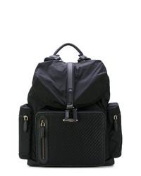 schwarzer geflochtener Leder Rucksack von Ermenegildo Zegna