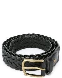 schwarzer geflochtener Ledergürtel von AMI Alexandre Mattiussi