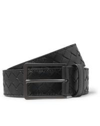 schwarzer geflochtener Ledergürtel von Bottega Veneta