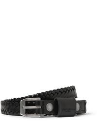 schwarzer geflochtener Ledergürtel von Saint Laurent