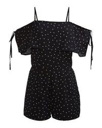 schwarzer gepunkteter kurzer Jumpsuit von Fashion Union Petite