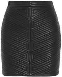 schwarzer gesteppter Leder Minirock von Balmain
