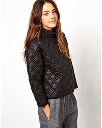 schwarzer gesteppter Leder Pullover mit einem Rundhalsausschnitt von Asos